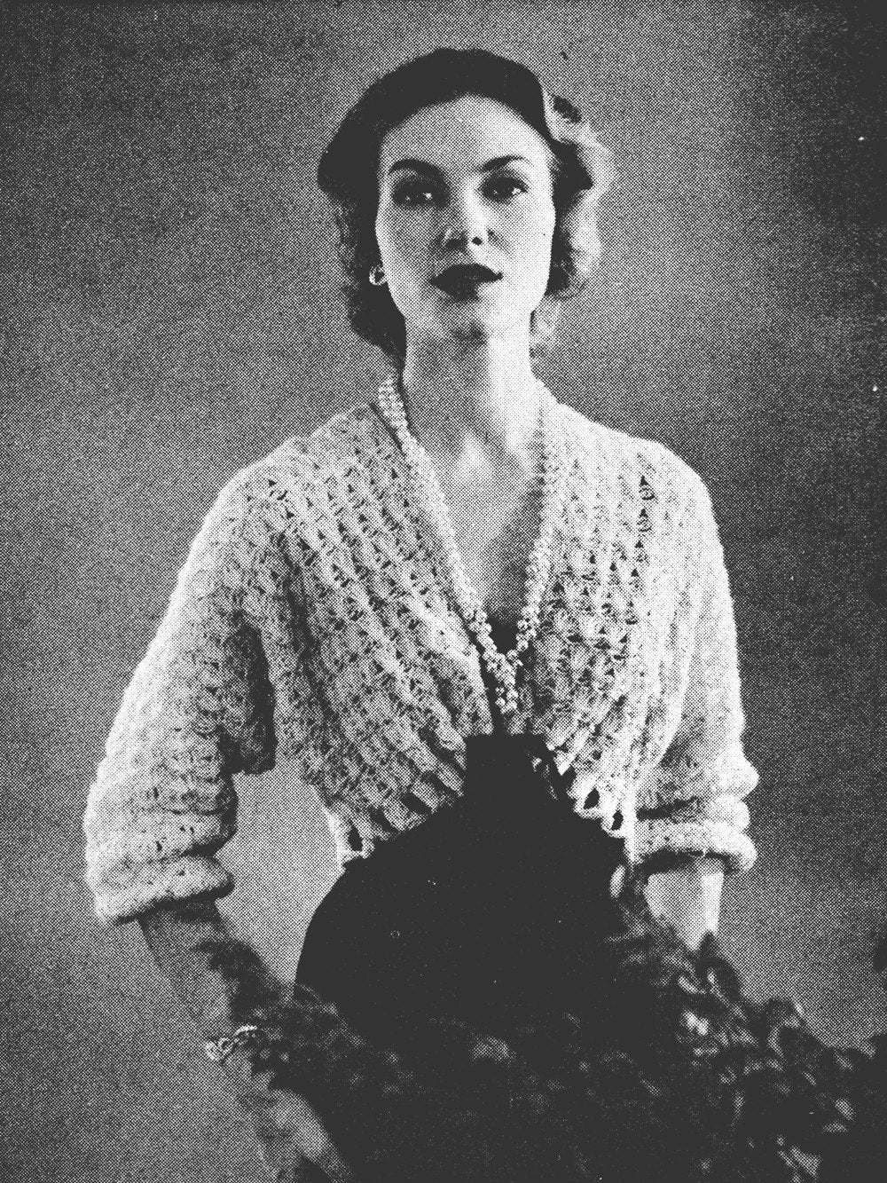 Bed Jacket or Shoulderette bedjacket Vintage Crochet Pattern One