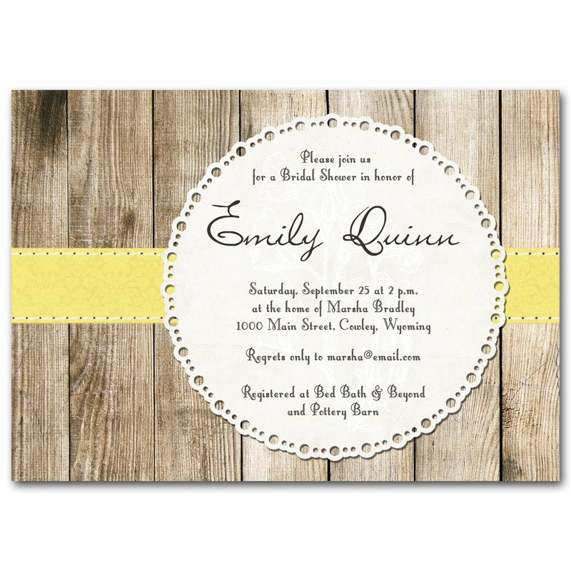 Bridal shower invitation Rustic vintage baby shower orange yellow red