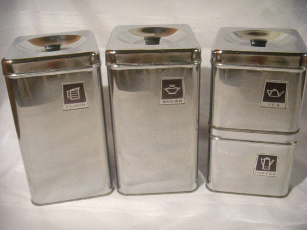 vintage retro chrome metal black canister set 4 ebay