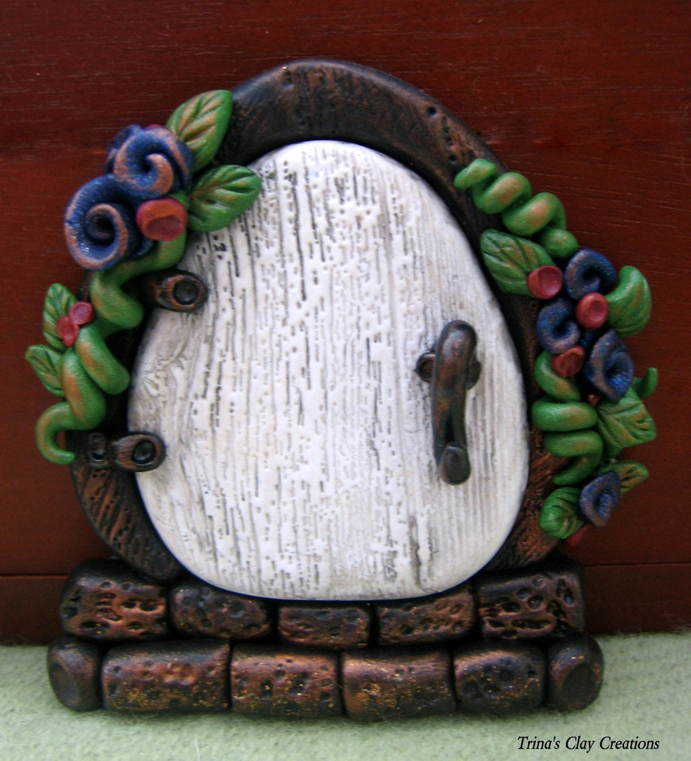 Sandy 39 s creations in clay faux polymer clay leather wood for Works elf door