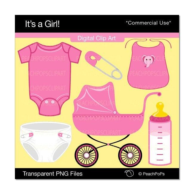 clip art baby girl. Baby Girl - Digital Clip Art