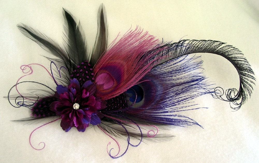 Purple Aubergine Eggplant Lilac Lapis Purple Peacock Feather Fascinator