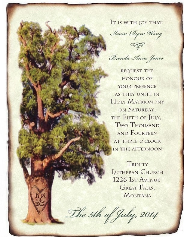 Wedding Scroll Invitations Heart Oak Tree Theme qty 50 oak wedding theme