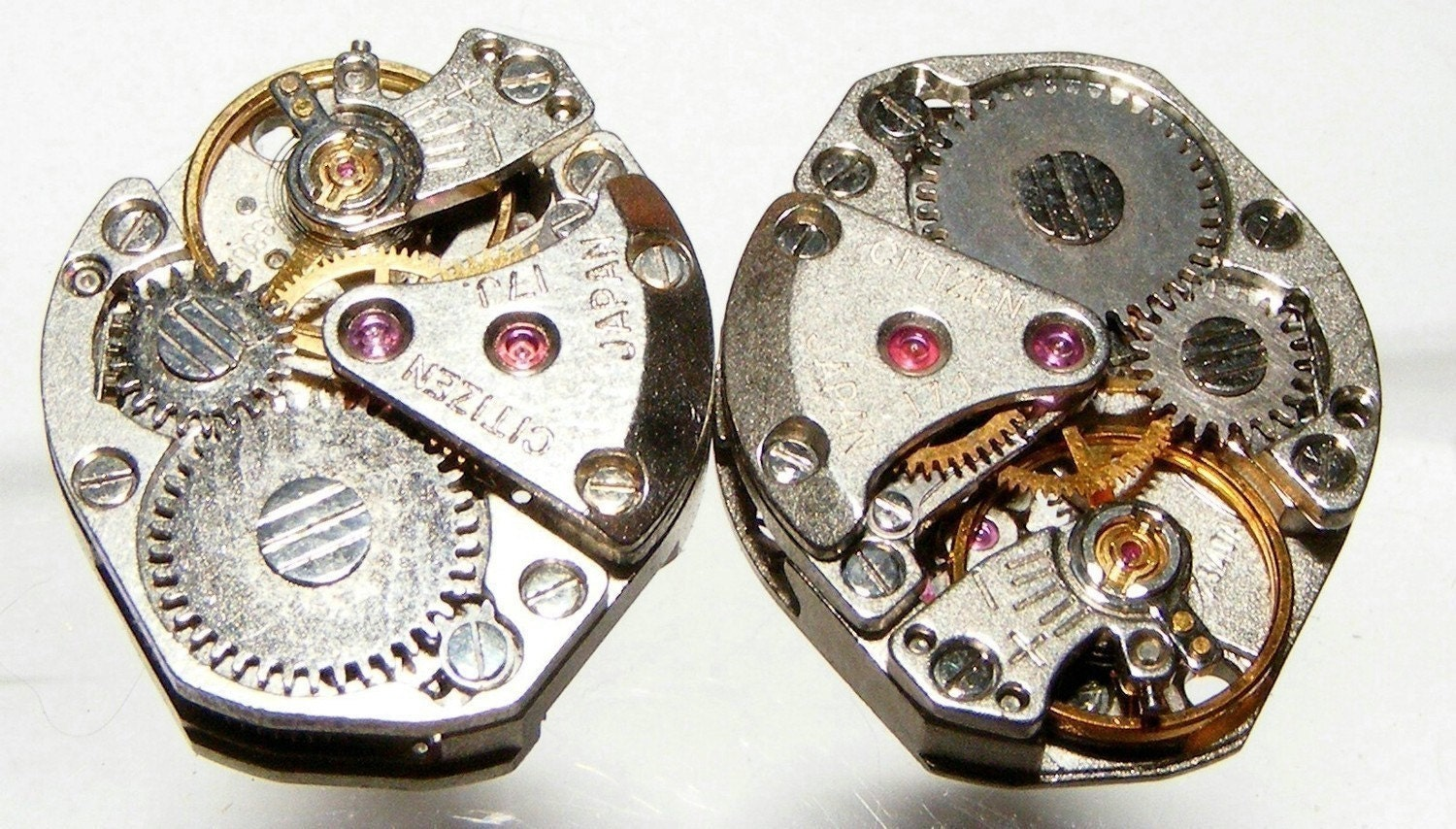 ONE Pair Of Identical Vintage Watch Movements, 17 Genuine Ruby Pieces In Each (Lg Bump) REDUCED