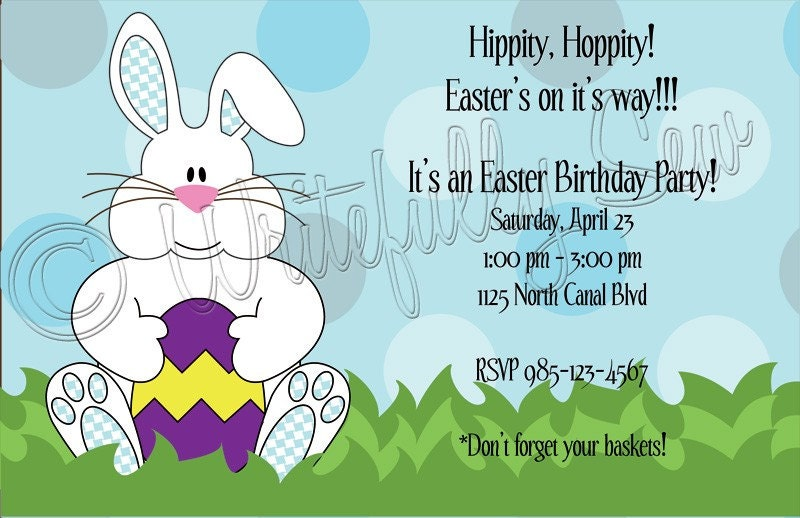 easter bunny pictures to print and color. Easter Bunny Invitation