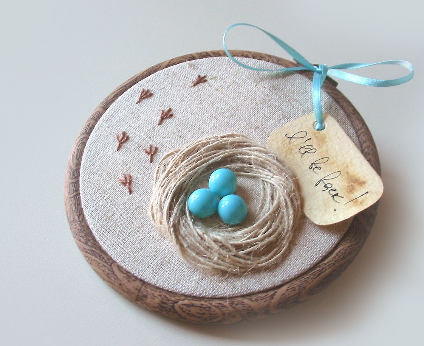 Organic Hand Embroidered Wall Hanging Nest with Robin Eggs- I WILL BE BACK - Free Worldwide Shipping