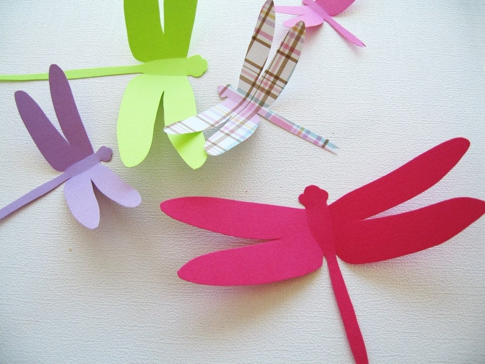 15 Dragonflies Paper Wall DecorDecal 3D Nursery Baby Wedding