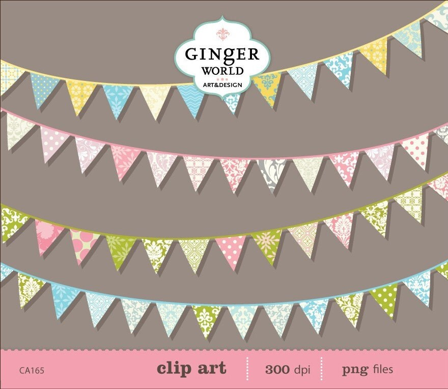 Banners Flags bunting party decor clip art digital illustration for