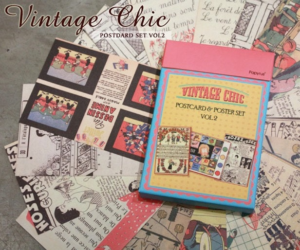 Vintage style Chic Illust Postcard Set Ver. 2 (50 sheets)