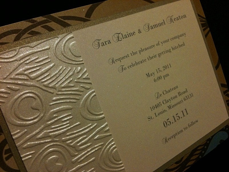 ADDITIONAL 5 OFF Vintage Peacock wedding invitation and reply set