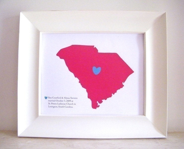 Personalized Wedding Gift Custom Map 8x10 Print also engagement or