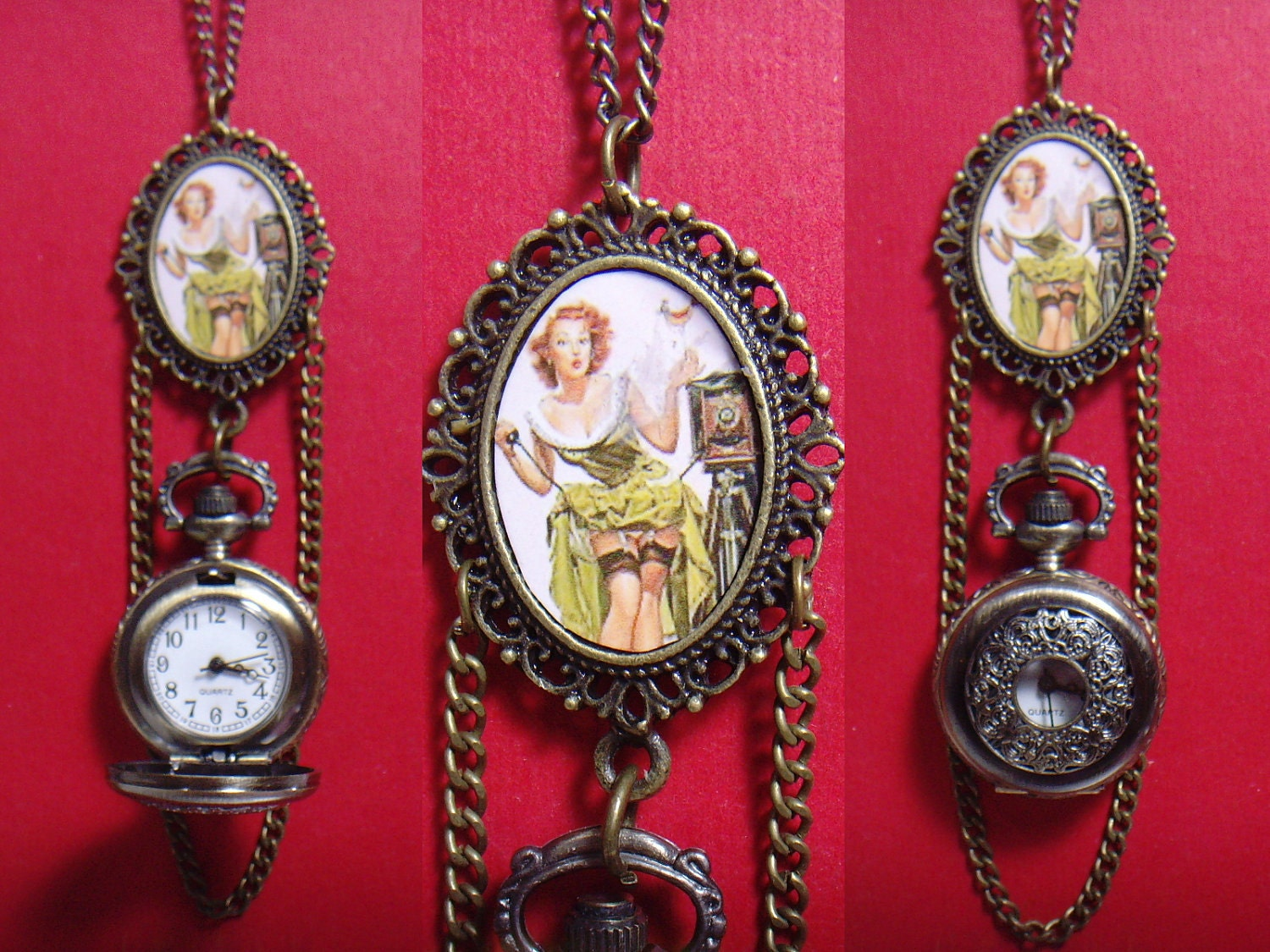 New collection unique design vintage style sexy lady portrait cameo oval charm with lace filigree cover case pocket watch 24 inches chain necklace