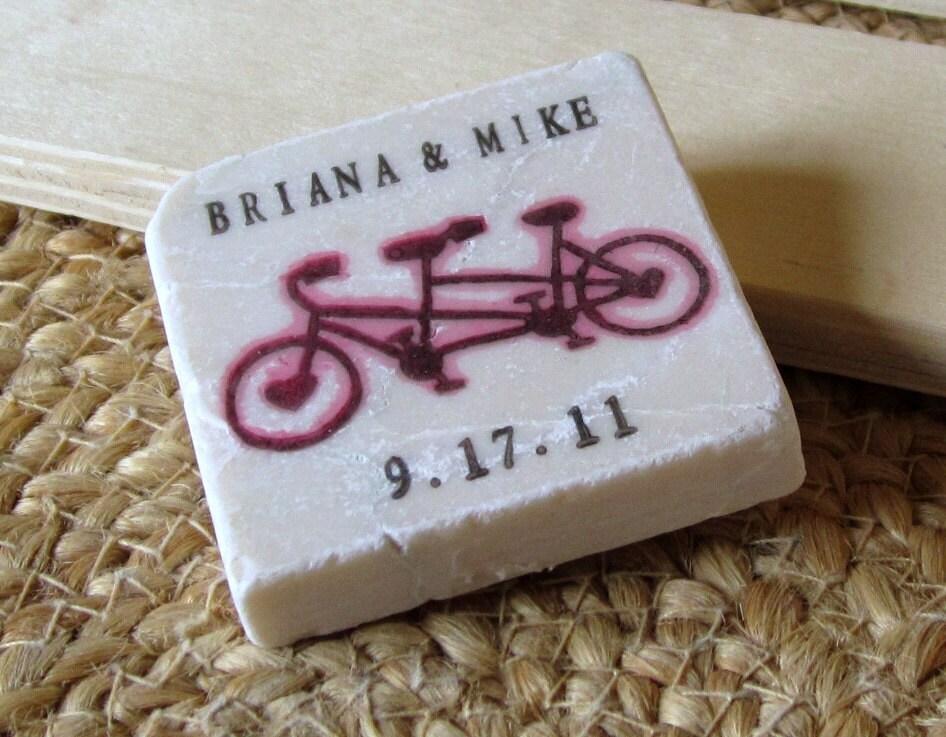 Tandem Bike Save the Date Magnets Wedding Favors Set of 25