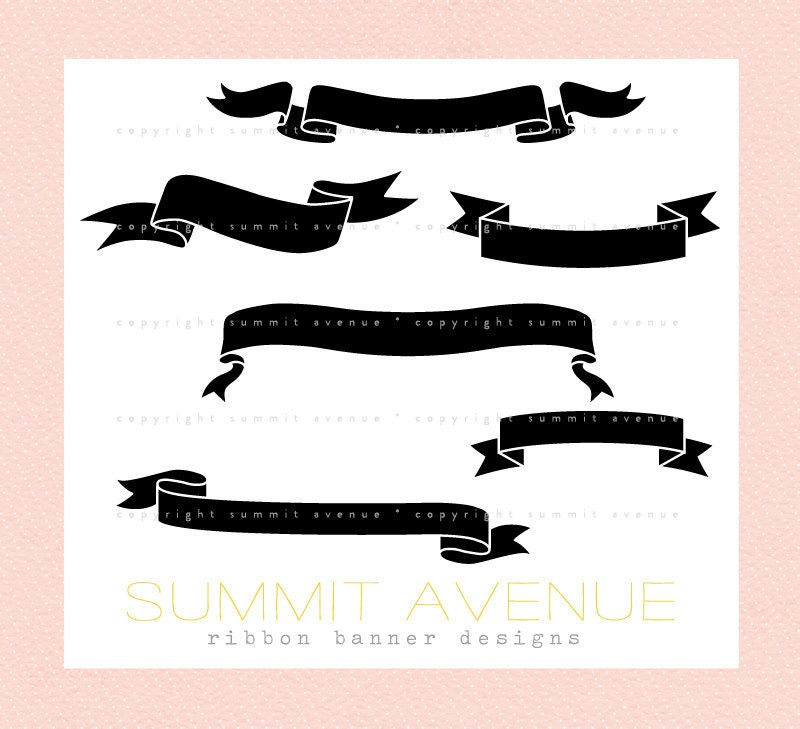 ribbon banner silhouettes digital clip art for photography scrapbook
