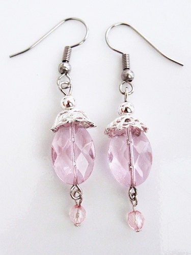 Pink Crystal and Silver Decorative Earrings