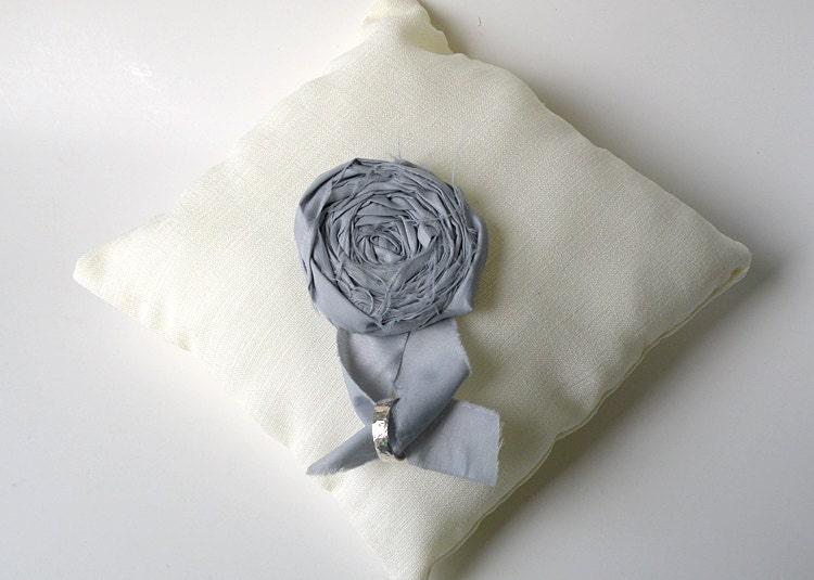 Cream linen wedding ring pillow with light blue gray rosette