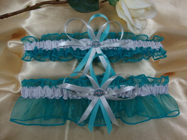 Teal and Silver Wedding Garter Set with Teal Crystal Deco From StarBridal