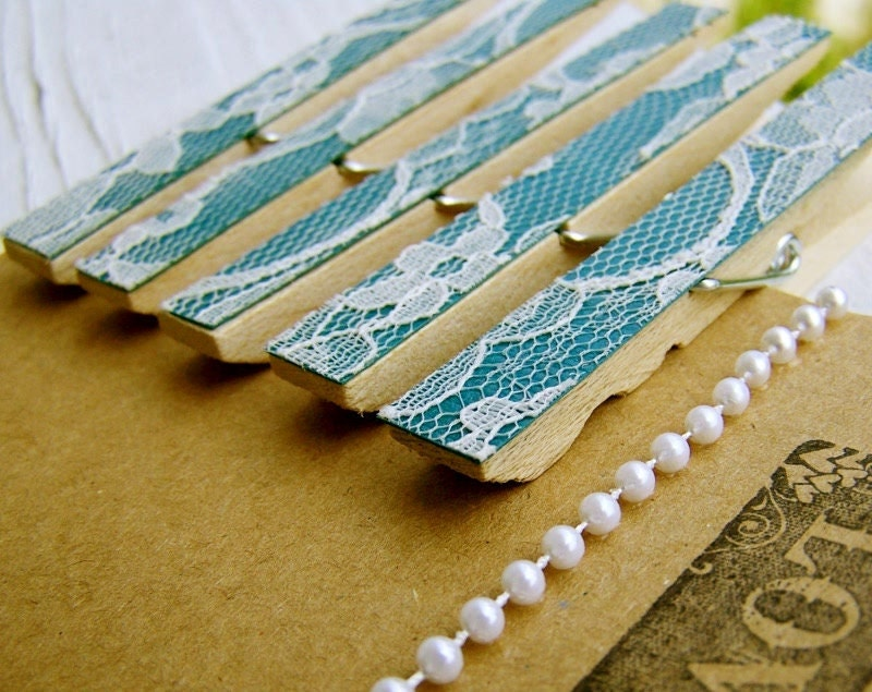 SALE Lace Clothespins Teal DIY Wedding Accessory Shabby Chic Wedding