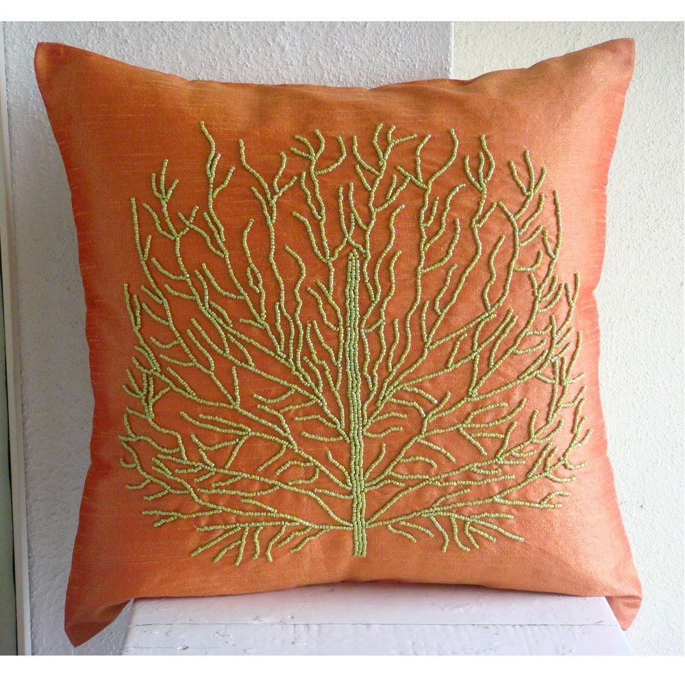 Orange Ocean Orange Silk Decorative Throw Pillow Covers 16