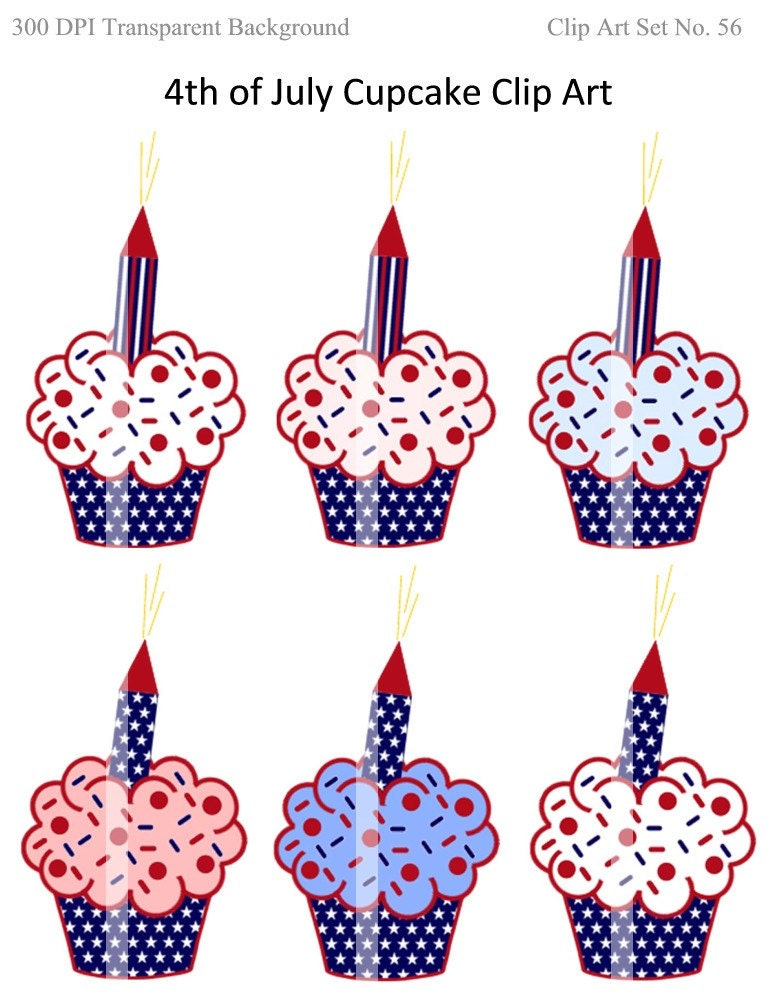 clip art 4th of july. 4th of July Cupcakes Clip Art - Personal and Commercial Use 56