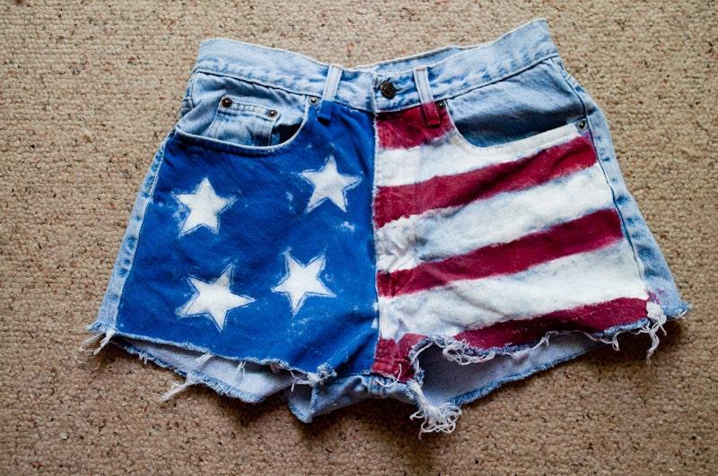 high waisted american flag shorts. American Flag Highwaisted Jean