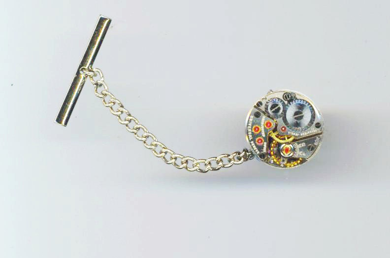 Unforgettable I. - Steampunk Tie Pin with Silver Plated Blanks and Vintage Jewel Watch Movement (MEN'S)