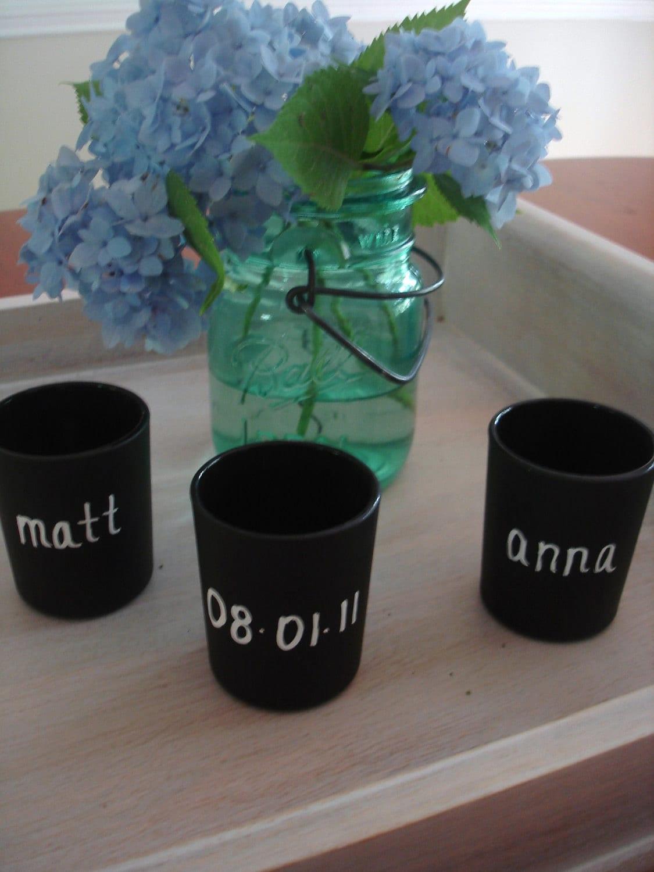 """Set of three Chalkboard Flower Vases"""