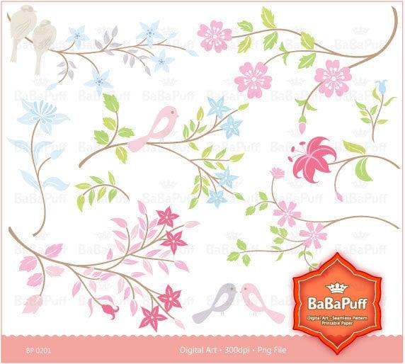 Floral Designs clip art for scrapbooking wedding invitation card