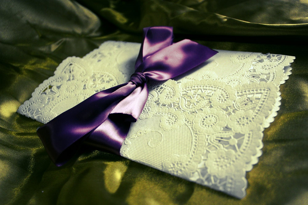 do it yourself wedding invitations lace wrapped