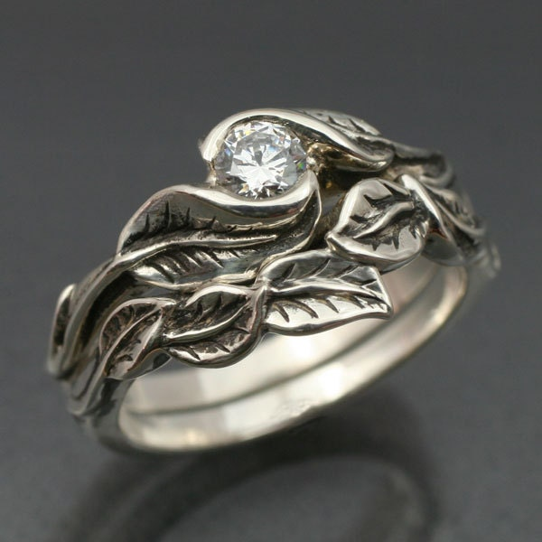WEDDING RING SET Delicate Leaf Engagement ring with matching Wedding Band