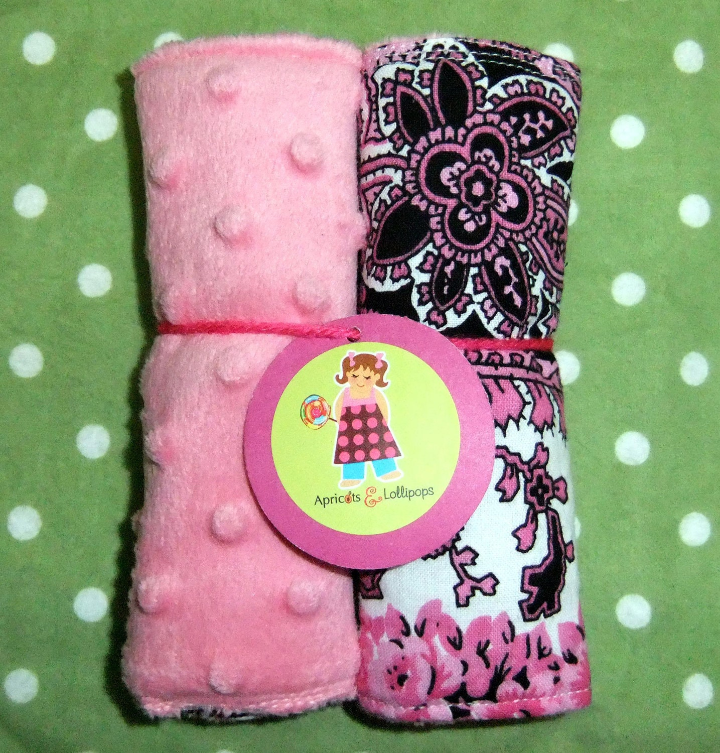 Girls pink car seat strap covers, COTTON CANDY BLOOM with pink dot minky