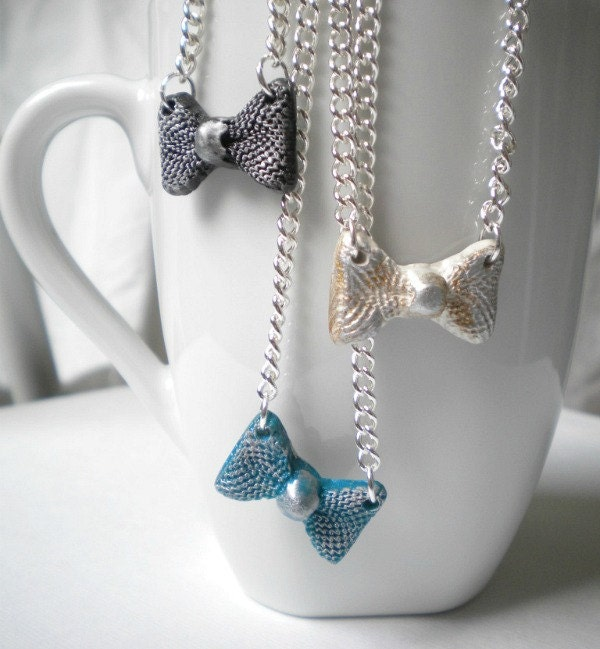 olymer-clay-bow-tie-necklace on silver chain