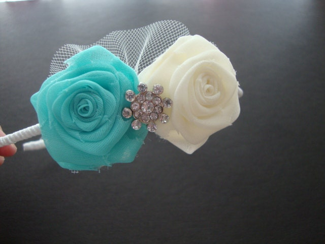Ivory TiffanyBlue Rose Headband Hair Comb Clip Bobby Pin Garter Gown Bride