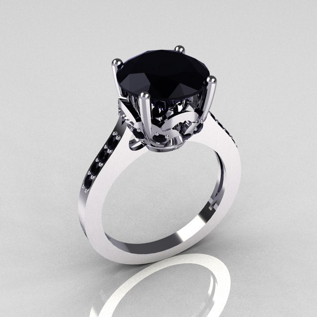 Classic 14K White Gold 35 Carat Black Diamond Solitaire Wedding Ring R301