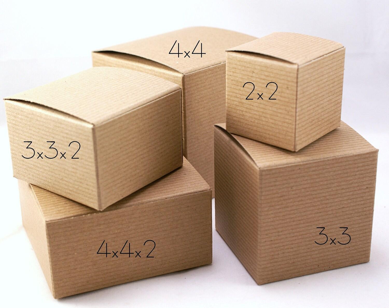 4x4x2 pinstripe kraft brown boxes party wedding gift 15 ebay. Black Bedroom Furniture Sets. Home Design Ideas