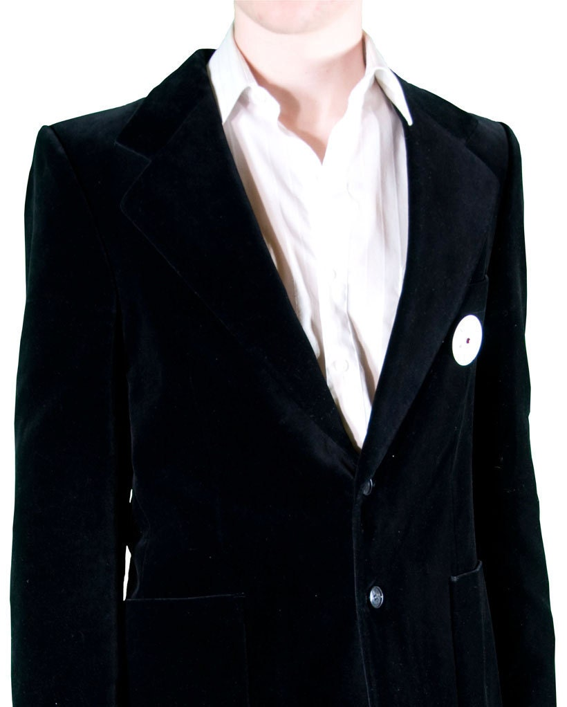 Victorian inspired The Envy of Dorian Gray upcycled black velvet blazer with watch dial pin