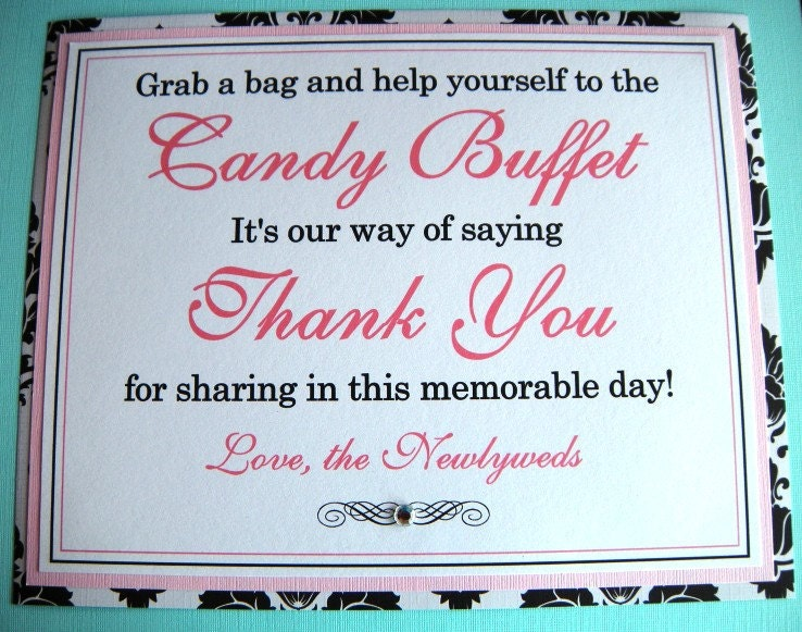 8x10 Flat Wedding Candy Buffet Sign in Black and White Damask and Light Pink