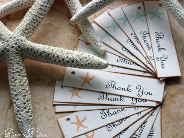 Starfish Wedding Favor TagsOcean Beach Themed WeddingThank You