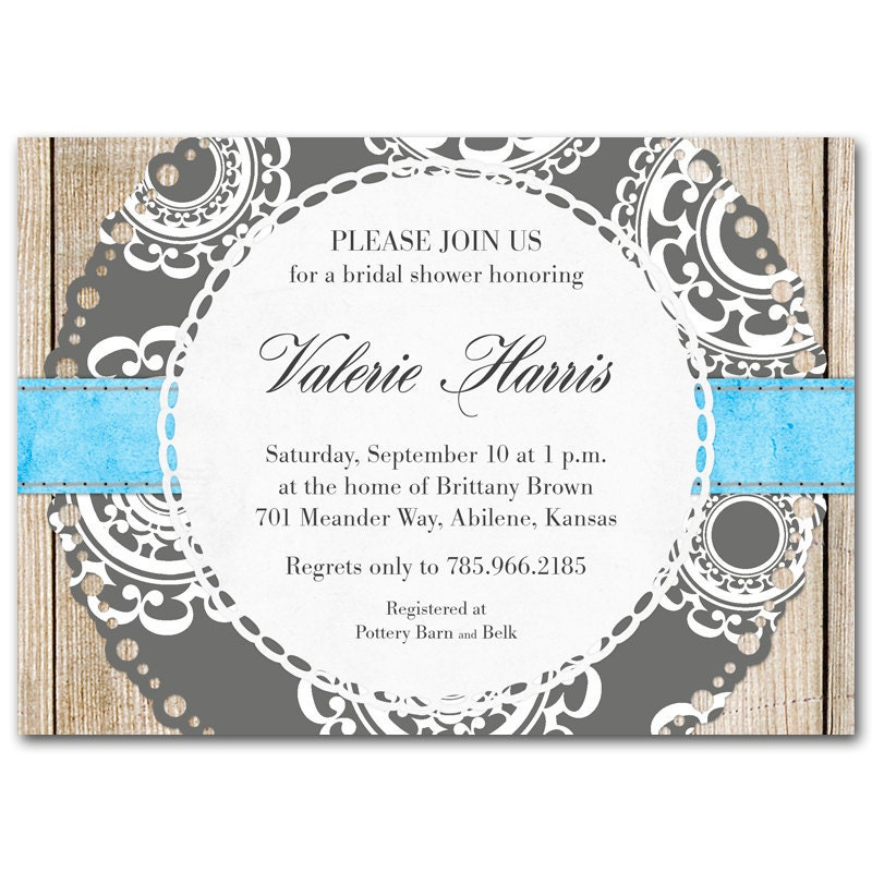 Bridal shower invitation rustic wedding gray blue aqua baby shower