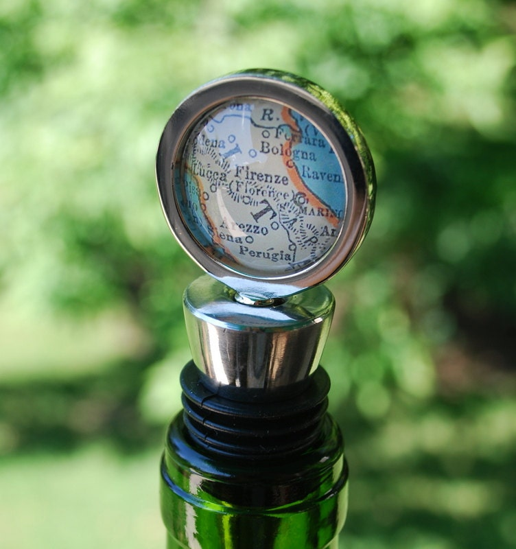 Florence Italy Wine Bottle Stopper Vintage Map Great Wedding Favor