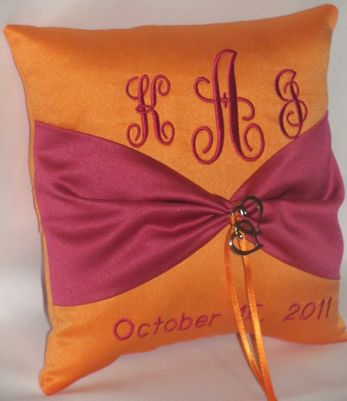 Two Hearts Become One Monogram Wedding Ring Bearer Pillow Tangerine and
