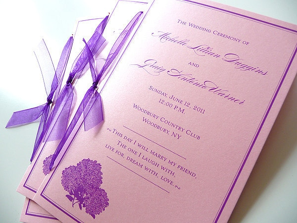 100 Hydrangea Silhouette Wedding Ceremony Programs with Ribbon Ties