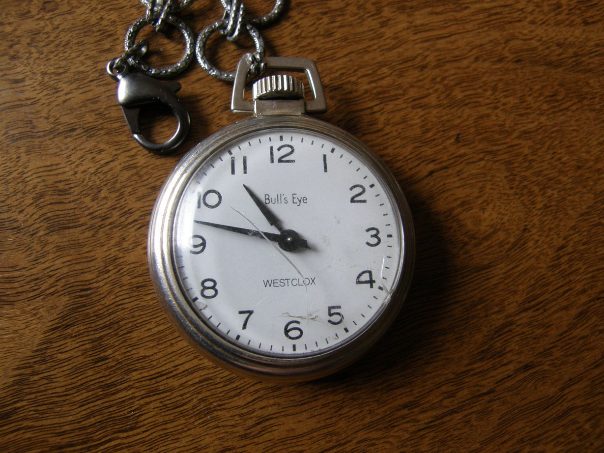 Westclox Bull's Eye pocket watch with chain