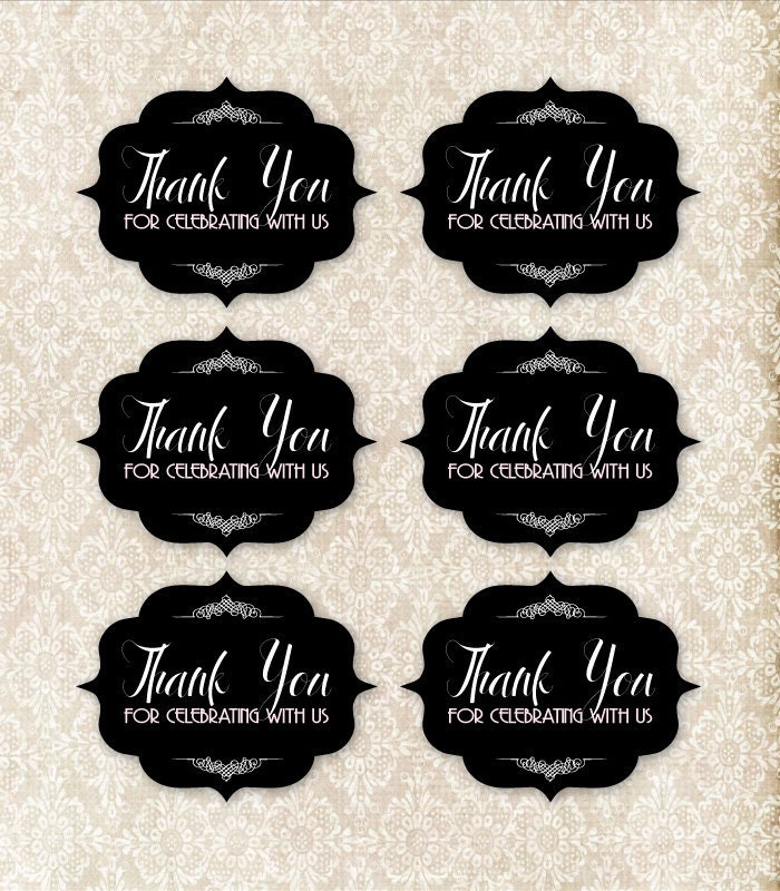Black and Pink Printable Thank You Tag Set DIY Weddings and Parties