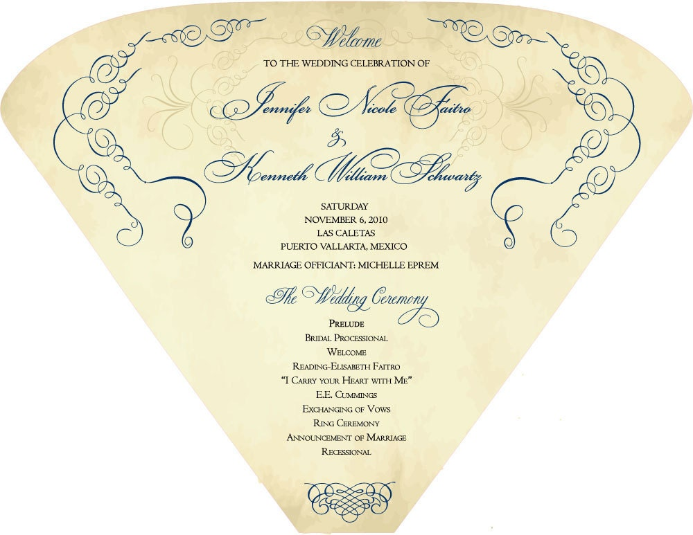 SET OF 25 Vintage Scroll Design Wedding Program Fan custom colors available