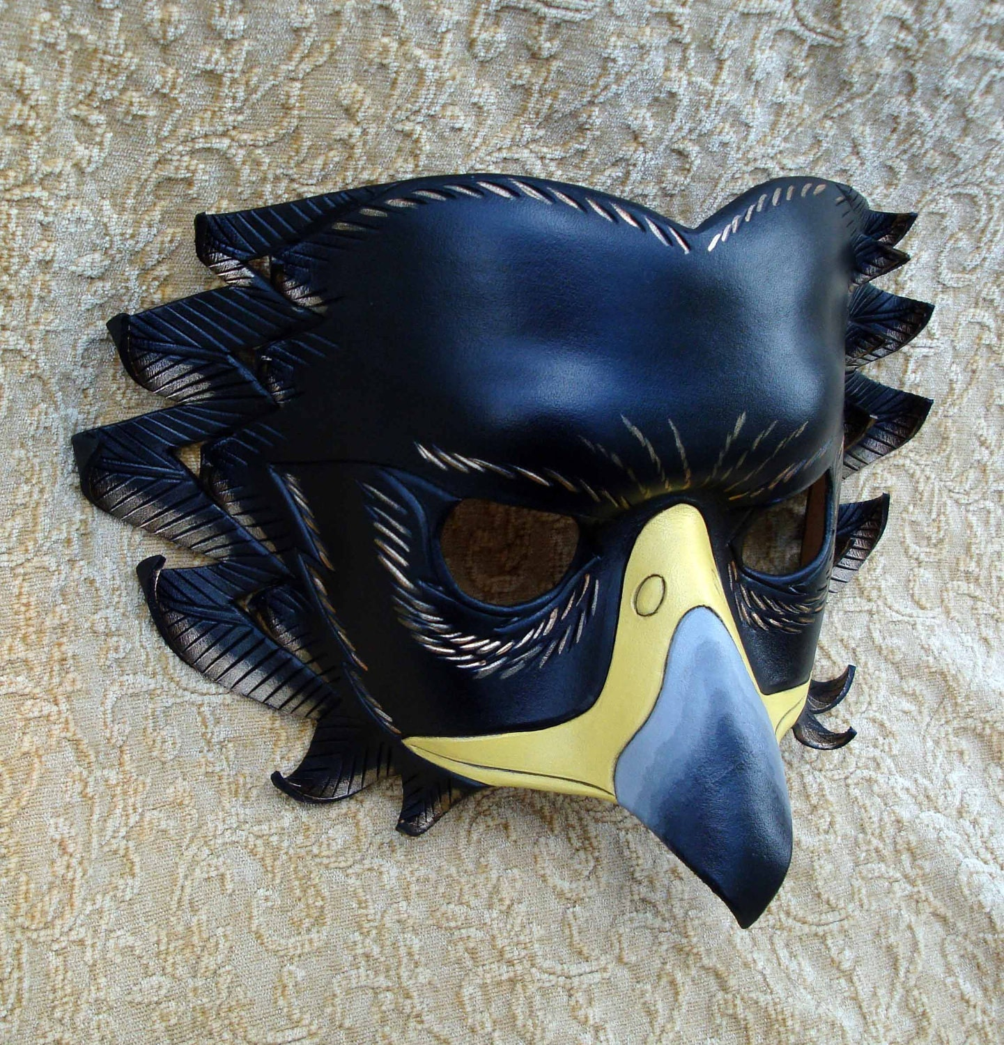 Black Eagle Mask handmade leather mask on Etsy