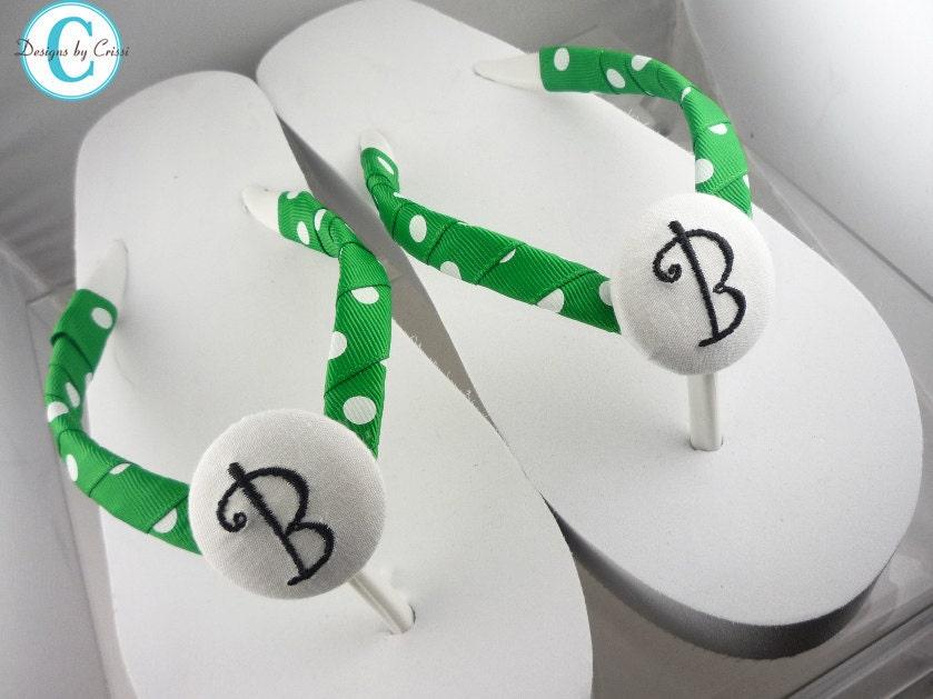 Bridal Flip Flops Wedge Platform Heel White Polka Dot Bride Wedding Ribbon