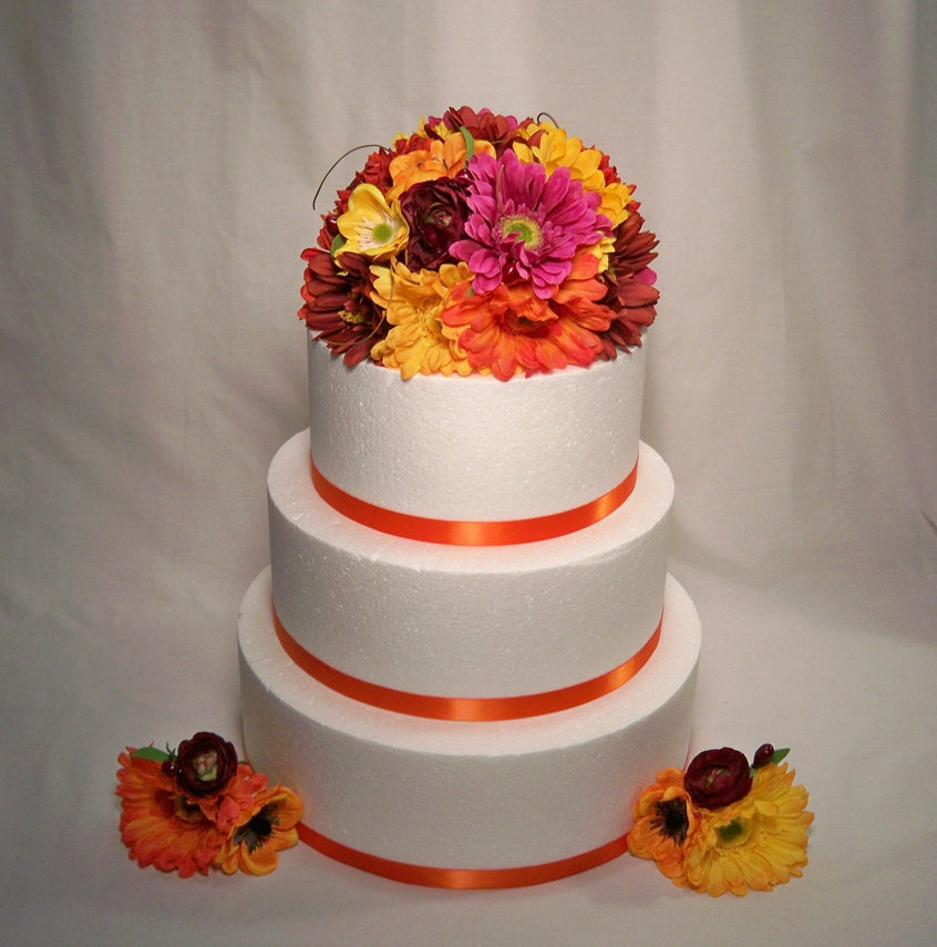 Burgundy Yellow Orange Gerbera Daisy Wedding Cake Topper