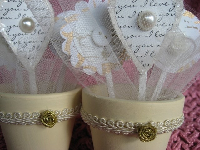 Petite wedding bridal favor flower pots From starrydeborah