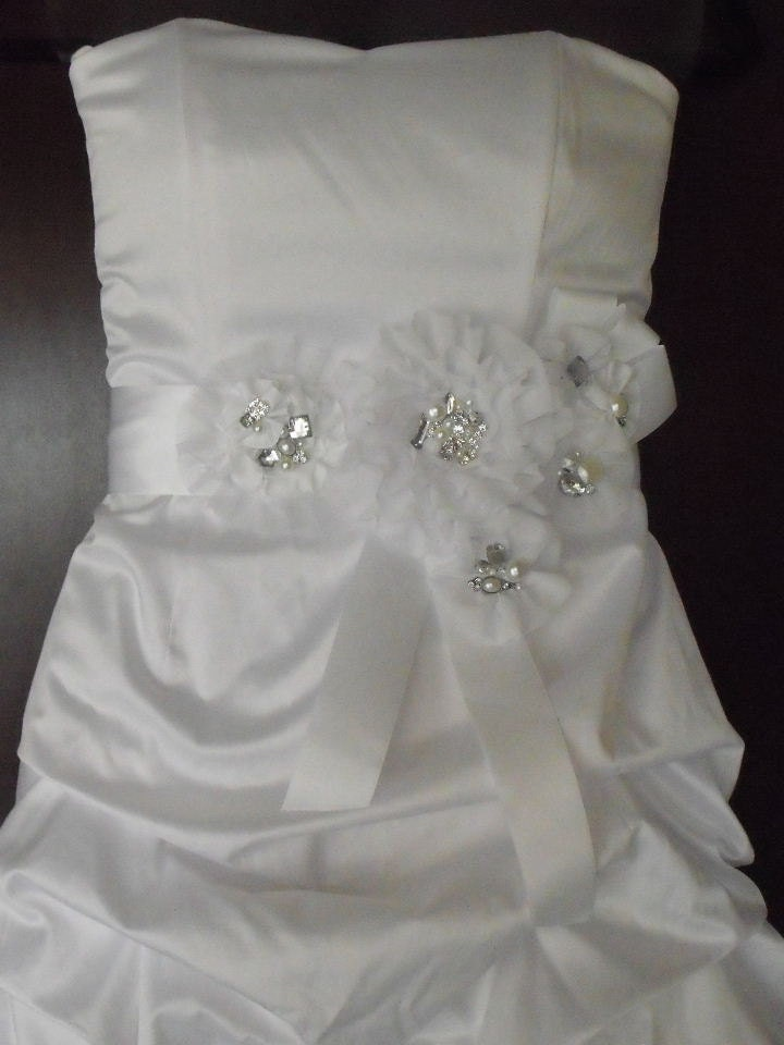 Stunning White SASH NEW with lots of Bling wedding bridal sash white
